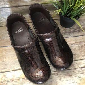Shiny Brown Floral Dansko Clogs Womens EU Size 42